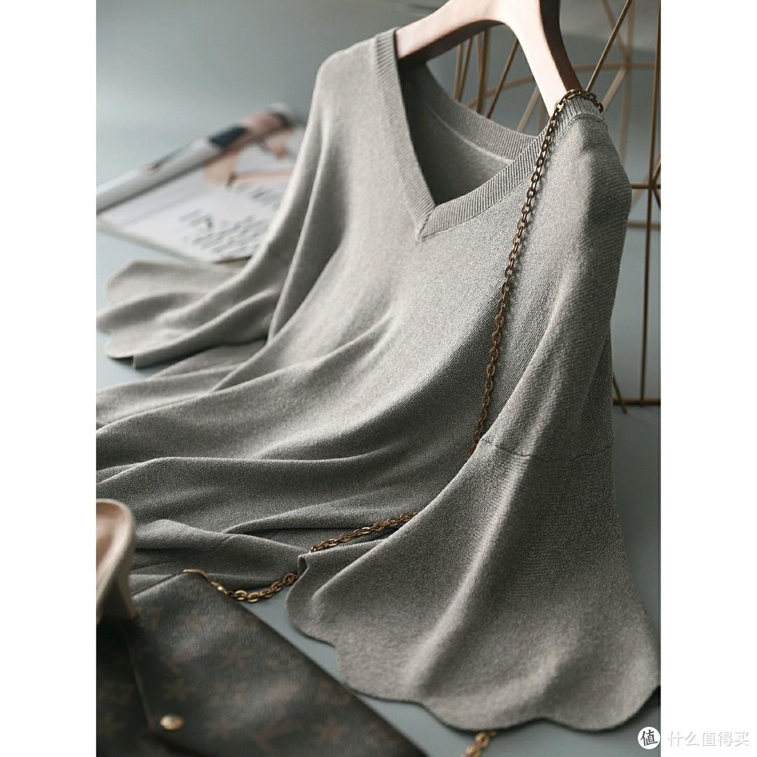 清爽夏日纱针织小衫 敲干练 微喇花瓣袖更显