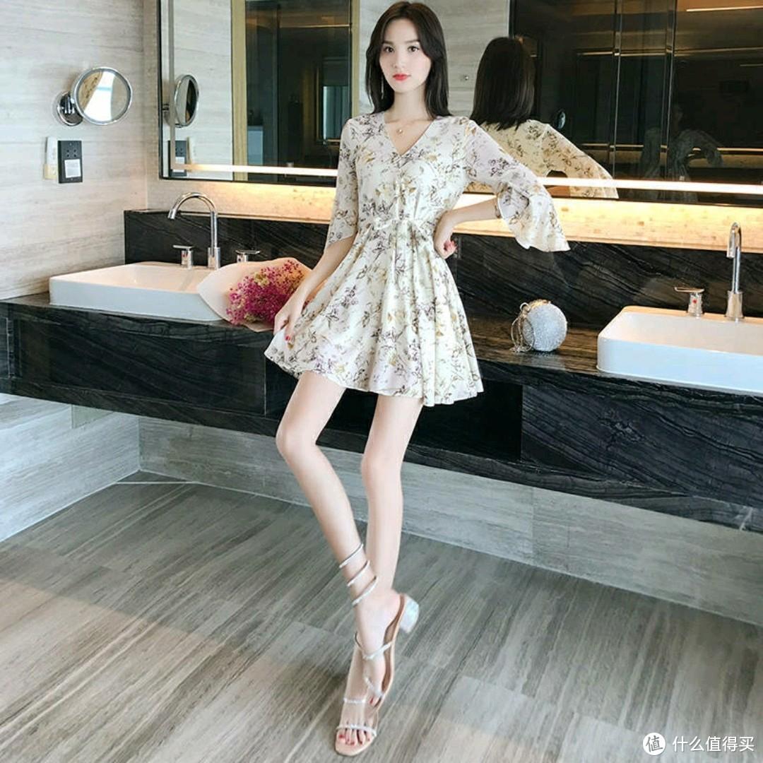 中短连衣裙2021夏季新款高腰小个子150cm碎花很仙的法国小众裙子