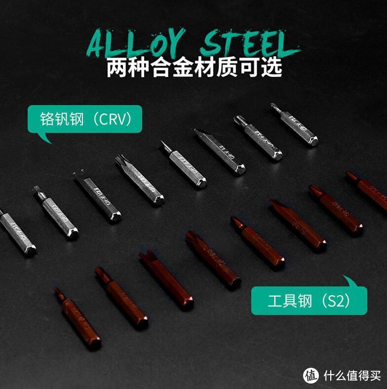 这是大家日常最容易见到的两种螺丝刀可换批头:CRV铬钒钢 vs S2工具钢,后者的材料硬度,一般较前者高10%~20%