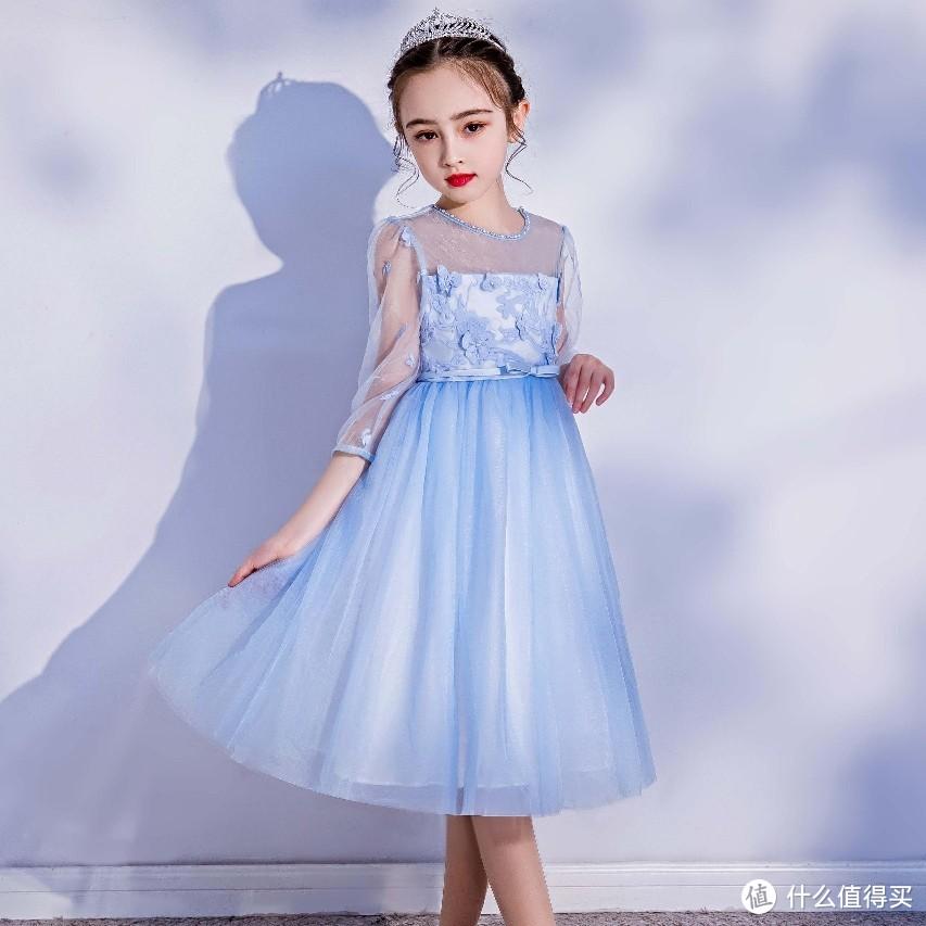 今日推荐:宝茉莉春夏公主粉蓝色七分中长袖纱裙