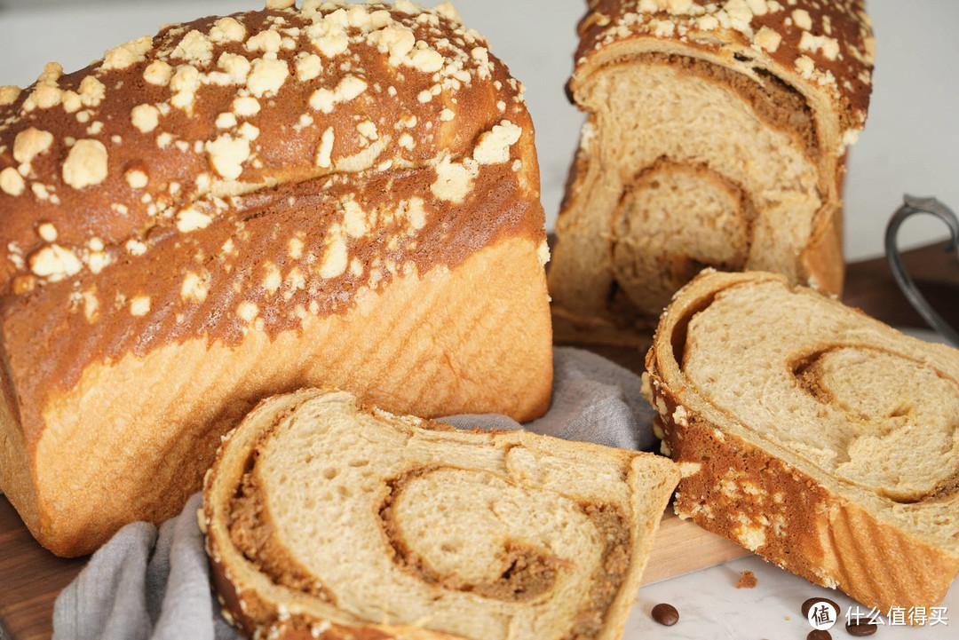 咖啡馅和奶酥粒的完美组合---复刻爸爸糖新款热销炭烧咖啡吐司面包
