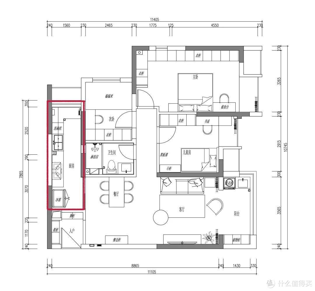 服!不要卫生间,坐拥5m长厨房,87㎡有娃之家住成典范?