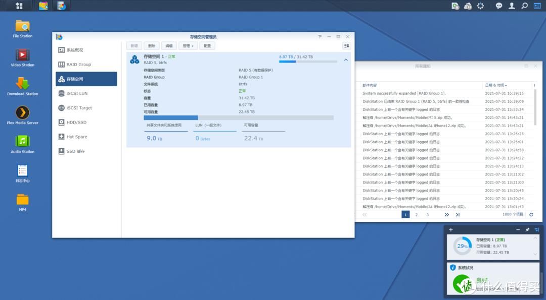 扩容完毕,存储空间显示容量31.42TB,已用容量8.97TB,可用容量22.45TB
