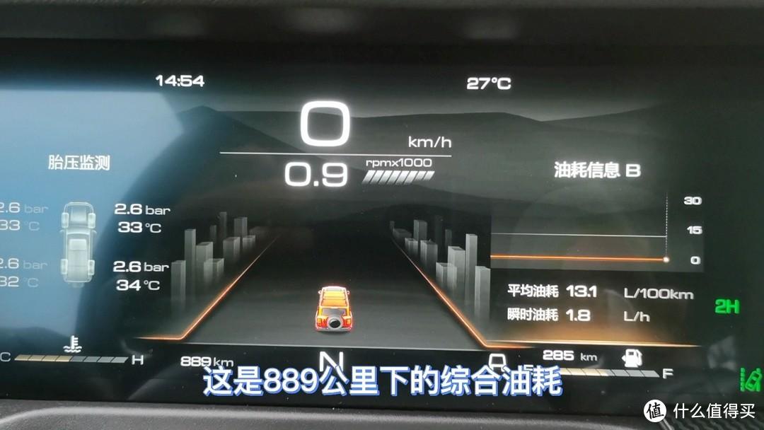 889公里各种工况下平均油耗13.1