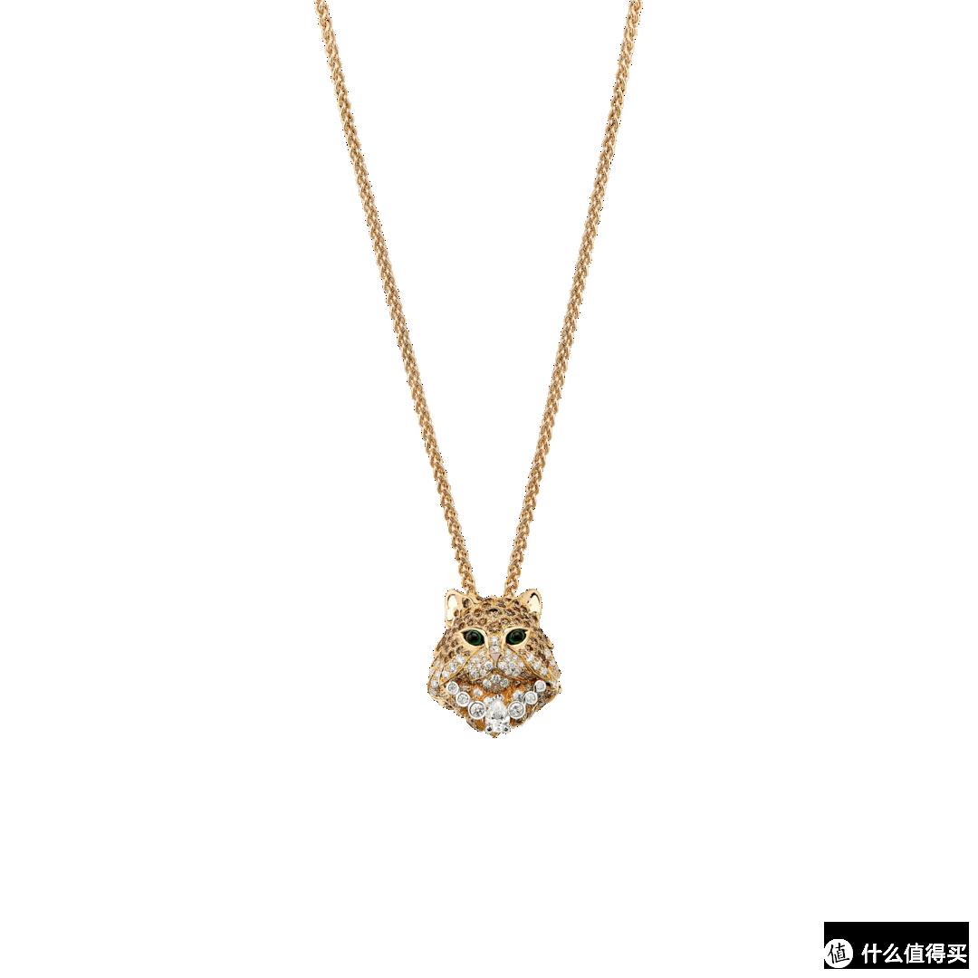 黄金及白金项链,镶嵌香槟色钻石及白钻