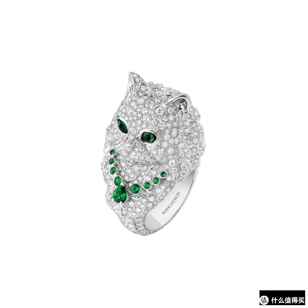 白金中型款戒指,镶嵌钻石及沙弗莱石