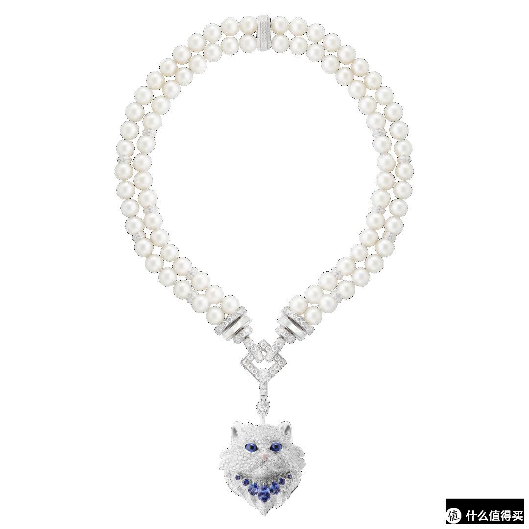 白金珍珠项链,镶嵌钻石、坦桑石及蓝宝石