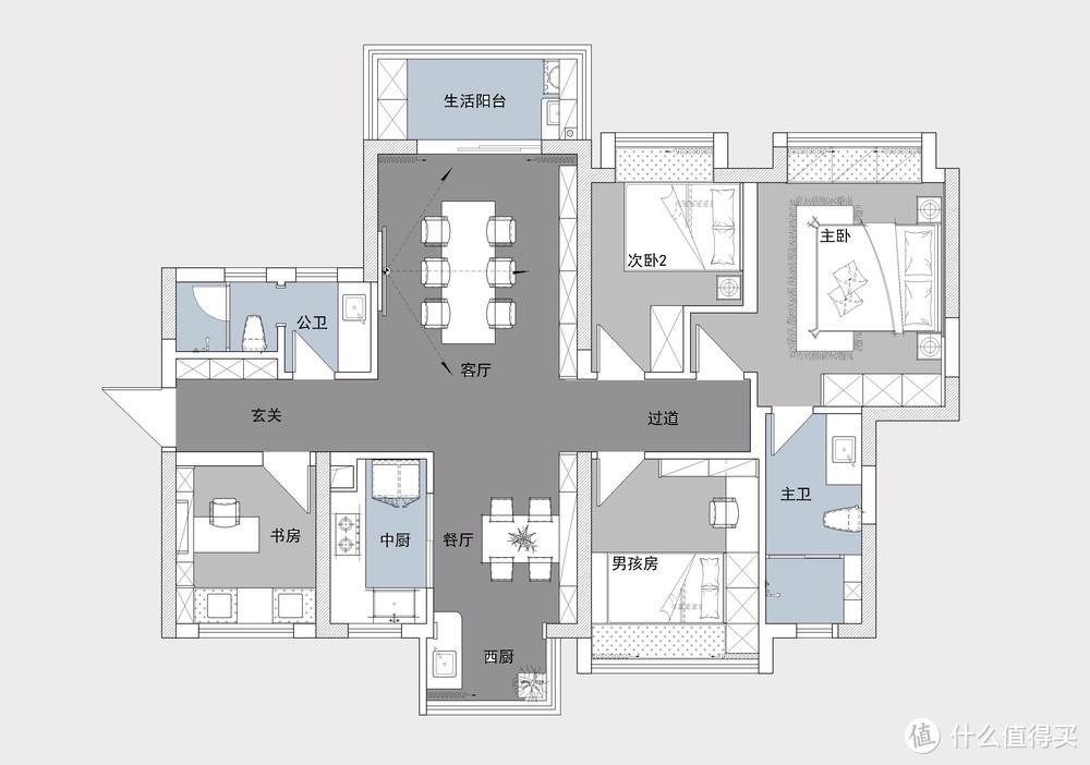 这夫妻很有眼光,取消传统客厅设计,改成多功能空间,实用又美观