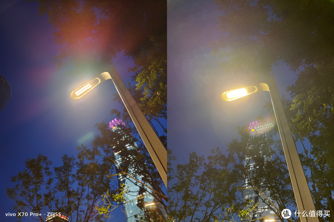 炫光鬼影测试。vivo(左)、iPhone12 ProMAX(右)
