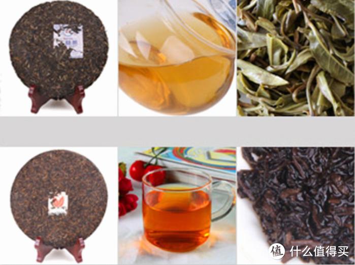普洱生茶叶色较青,汤色较淡,呈黄绿或黄橙色;熟茶叶色较深,汤色浓,偏红甚至栗红色。