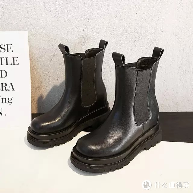 真皮内增高马丁靴女英伦风中筒厚底切尔西瘦瘦短靴拉链烟筒靴小码