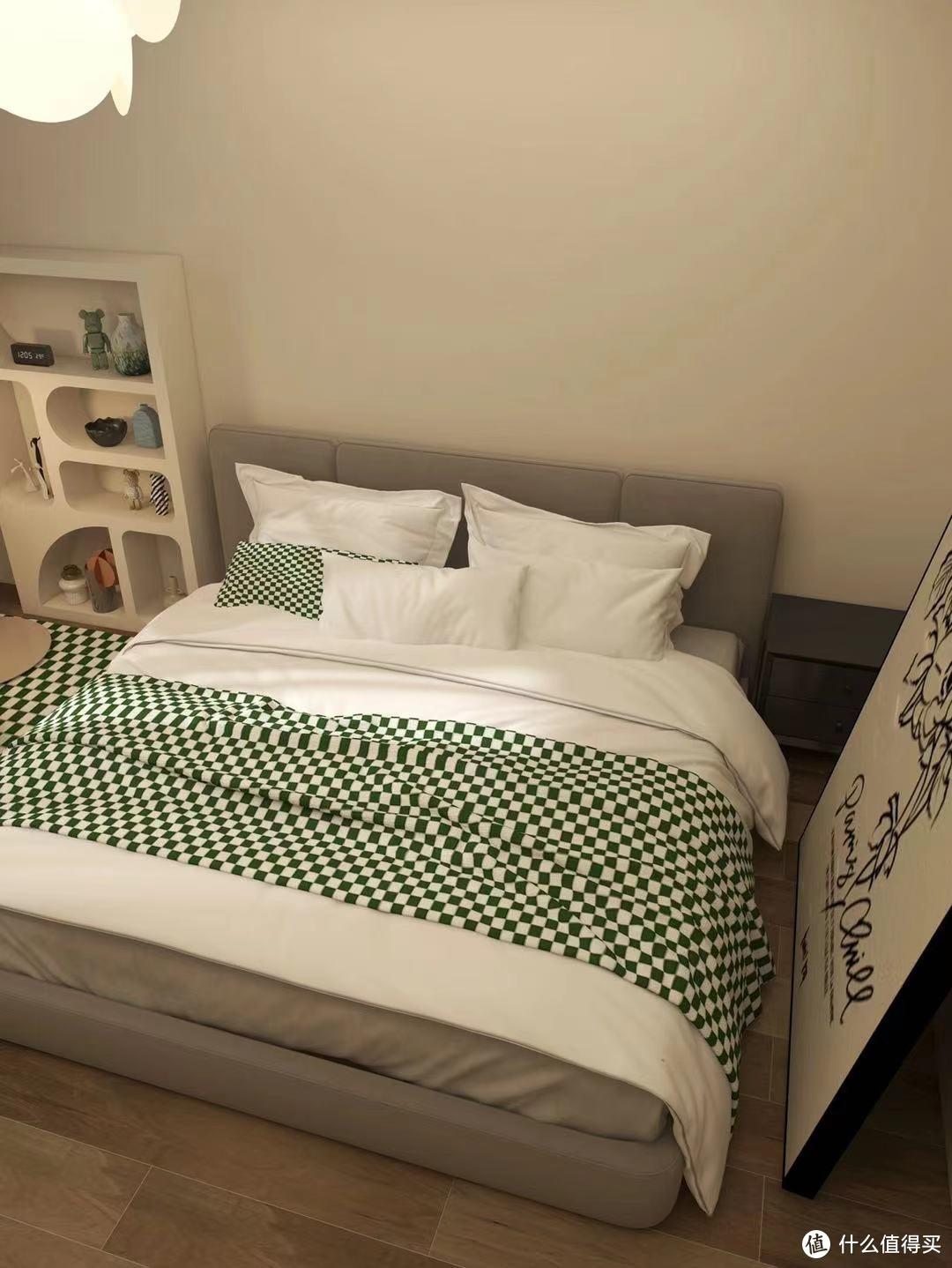 复古绿格卧室装修
