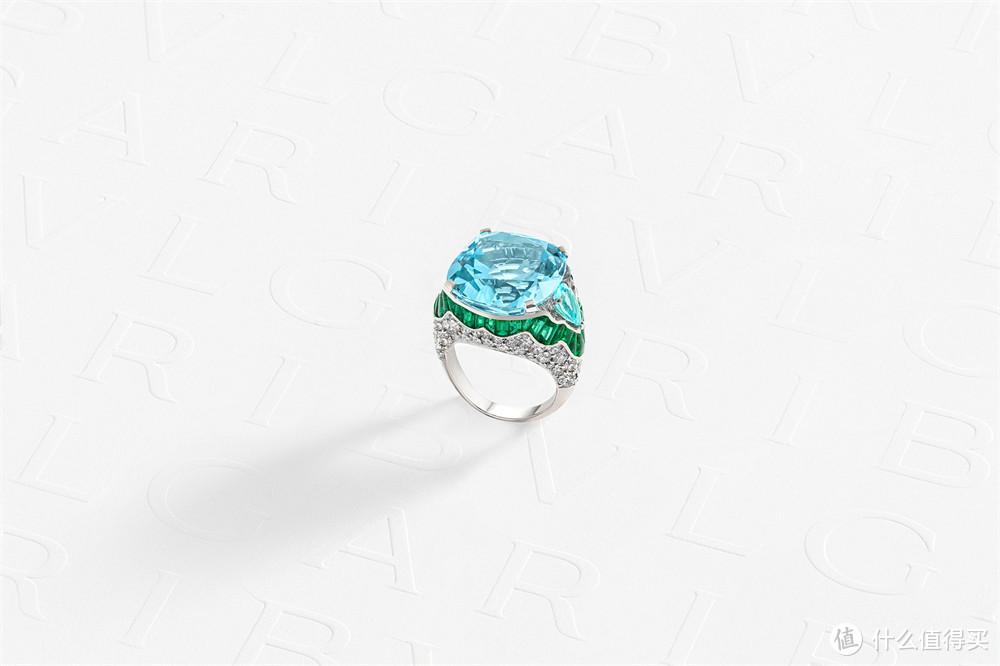 宝格丽Magnifica绮珍意宝高级珠宝系列枕形海蓝宝石戒指