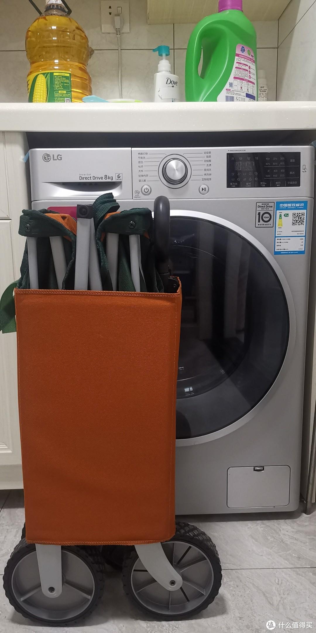 对比洗衣机,折叠后的大小